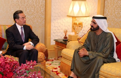 Sheikh Mohammed Bin Rashid Al-Maktoum, The United Arab Emirates (UAE) Vice President, Prime Minister and Dubai ruler, meets with Chinese Foreign Minister Wang Yi in Dubai, the United Arab Emirates