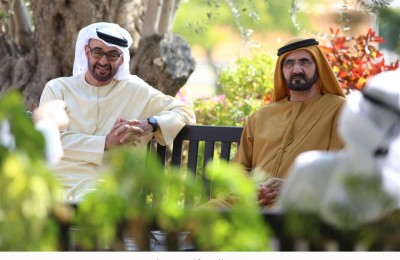 UAE Vice President, Prime Minister and Ruler of Dubai His Highness Sheikh Mohammed bin Rashid Al Maktoum,  with His Highness General Sheikh Mohammed bin Zayed Al Nahyan, Crown Prince of Abu Dhabi and Deputy Supreme Commander of the UAE Armed Forces