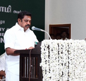 AIADMK leader Edappadi K. Palaniswami swears in as the new Chief Minister of Tamil Nadu  (Photo: IANS)