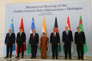 Delegates of India, central Asia and Afghanistan pose for photos after the Ministerial Meeting of the India-Central Asia-Afghanistan Dialogue in Samarkand, Uzbekistan, Jan. 13, 2019. (Xinhua/Cai Guodong/IANS)