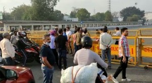 A view of the Delhi-Gurugram Border during complete lockdown in the country in a bid to curtail the spread of coronavirus.