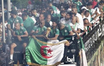 ALGIERS, July 21, 2019 (Xinhua) -- Algeria football national team celebrate with fans in downtown Algiers, Algeria, July 19, 2019. Algeria beat Senegal in Africa's Cup of Nations final by 1-0 and claimed the title of the event in Egypt's Cairo on July 19. (Xinhua/IANS)