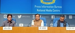 New Delhi: Ministry of Health & Family Welfare Joint Secretary Lav Agarwal addresses a press conference on 'COVID-19: Preparedness and Actions taken', in New Delhi on March 21, 2020. (Photo: IANS/PIB)