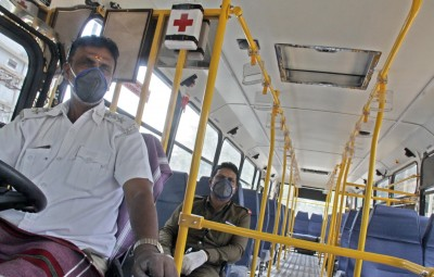 Bengaluru: Bengaluru: Health Emergency BMTC services at Peenya bus stand after lock down called by Karnataka Government amid rising Coronavirus cases, in Bengaluru on March 27, 2020. (Photo: IANS)