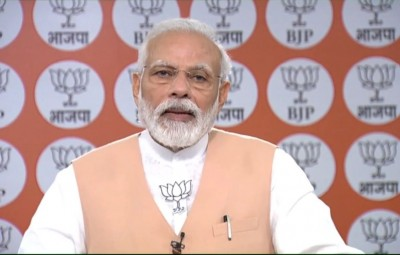 New Delhi: Prime Minister Narendra Modi addresses BJP cadres on the party's 40th Foundation Day, in New Delhi on Apr 6, 2020. (Photo: IANS)