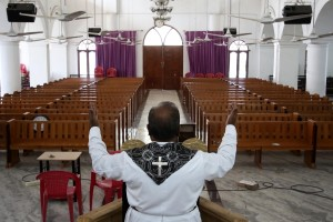 Chennai: A Chennai church bears a deserted look on Good Friday on Day 17 of the 21-day nationwide lockdown imposed as a precautionary measure to contain the spread of coronavirus, on Apr 10, 2020. (Photo: IANS)