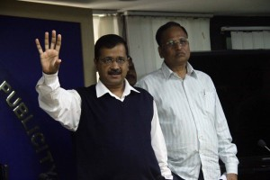New Delhi: Delhi Chief Minister Arvind Kejriwal accompanied by state Health Minister Satyendar Jain, arrives to address a press conference after a meeting with the Special Task Force on measures taken against the spread of coronavirus in the national capital, on March 16, 2020. (Photo: IANS)
