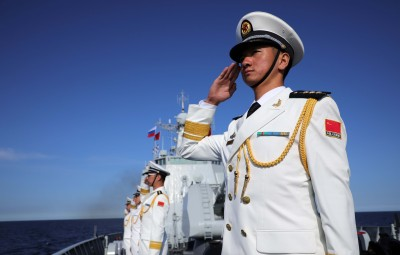 """ST. PETERSBURG, July 29, 2019 (Xinhua) -- Sailors in full dress line up on the deck of Chinese missile destroyer Xi'an during the military parade marking Russia's Navy Day on the sea near Kronshtadt islet off the shore of St. Petersburg, Russia on July 28, 2019. Chinese missile destroyer """"Xi'an"""" of the 32nd Chinese naval escort fleet participated in a military parade here marking Russia's Navy Day on Sunday. (Photo by Li Hao/Xinhua/IANS)"""