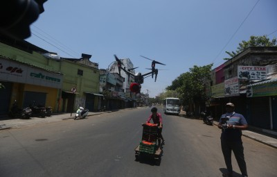 Chennai: Police use drones as survilliance in the Lockdown areas of Chennai during the nationwide lockdown in the wake of  COVID 19 Coronavirus pandemic on April 4, 2020. (Photo: IANS)