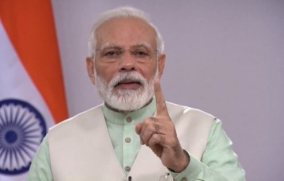New Delhi: Prime Minister Narendra Modi message to the nation on the fight against corona, in New Delhi, on Apr 3, 2020. (Photo: IANS/BJP)